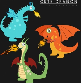 western dragon icons collection cute stylized cartoon style