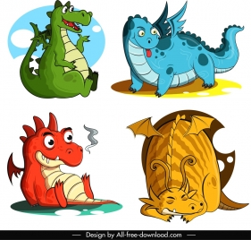 western dragon icons funny cartoon character sketch
