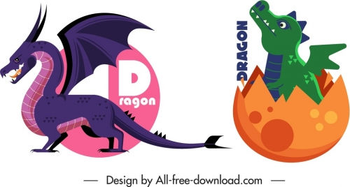 western dragon icons infant mature sketch cartoon design