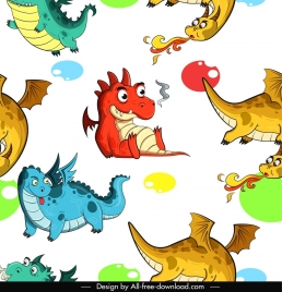 western dragon pattern colorful design cartoon characters sketch