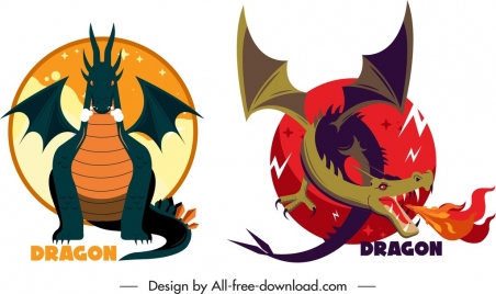western dragon templates colorful classical design