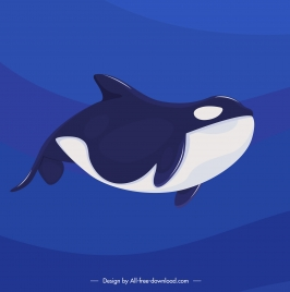 whale painting swimming creature sketch blue white decor