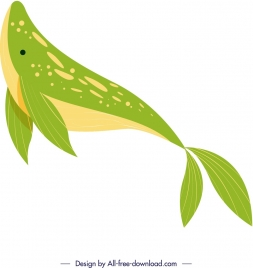 whale painting swimming gesture bright green decor