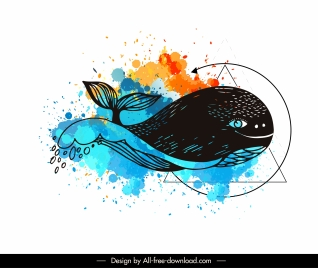 whale tattoo template handdrawn sketch grungy watercolor decor