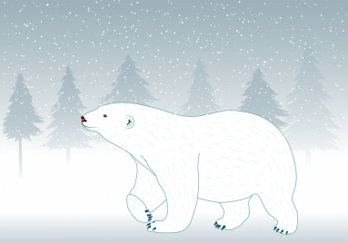 white bear icon design white winter backdrop