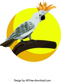 white parrot icon crown decor cartoon character