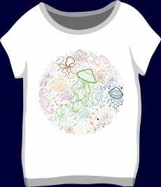 white tshirt design marine creatures icons decoration