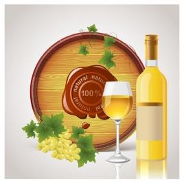 white wine glass bottle barrel
