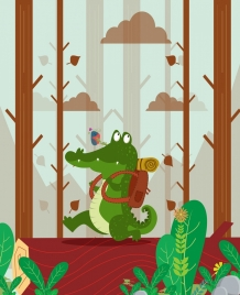 wild animal background crocodile bird icons stylized cartoon