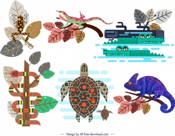 wild animal icons multicolored classical design