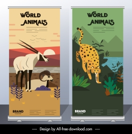 wild animals banners antelope leopard sketch colorful classic