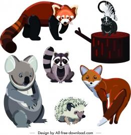 wild animals icons cute cartoon design