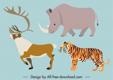 wild animals icons rhino tiger reindeer sketch