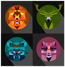 wild animals icons with low polygon style design