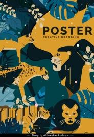 wild animals poster colorful retro design