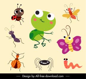 wild animals species icons cute cartoon sketch