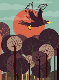 wild background flying eagle icon colored cartoon design