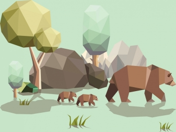 wild bears background colored polygonal style decoration