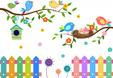 wild birds background colorful flat decoration