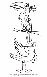 wild birds icons black white handdrawn sketch