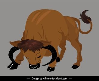 wild buffalo icon eating gesture handdrawn cartoon sketch