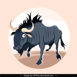 wild bull icon colored cartoon sketch