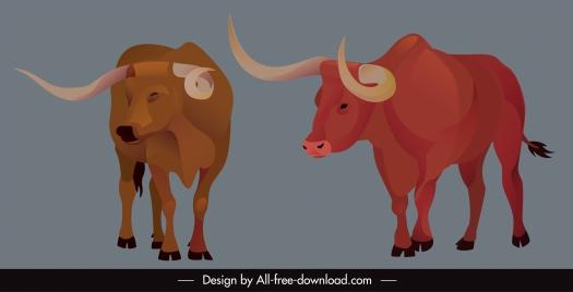 wild bull icons longhorn sketch cartoon design