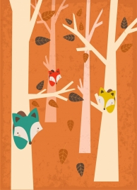wild foxes drawing tree icons decor retro design