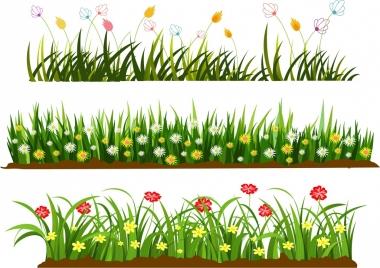 wild grass flowers templates colorful cartoon design
