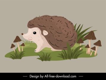 wild hedgehog icon cute handdrawn cartoon sketch