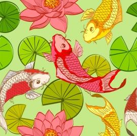 wild life background lotus fish icons colorful design