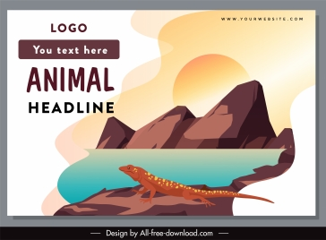 wild life banner salamander sketch cartoon design