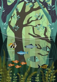 wild life drawing fish sea forest icons classical design