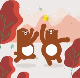 wild life drawing joyful bears icons cartoon design