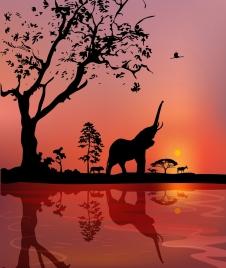wild life drawing landscape animal silhouette design