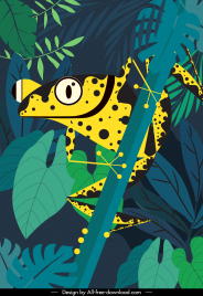 wild life painting jungle frog sketch retro flat