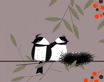 wild nature background bird nest icon colored cartoon