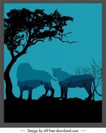 wild nature background dark design blurred silhouette sketch