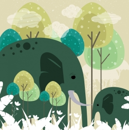 wild nature background elephant icons multicolored sketch