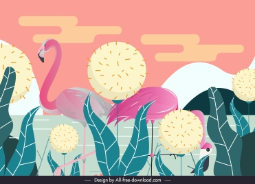 wild nature background flamingo dandelion sketch