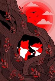 wild nature background fox red sun cartoon design