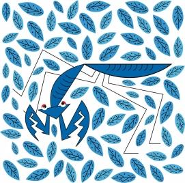 wild nature background mantis leaf icons blue design
