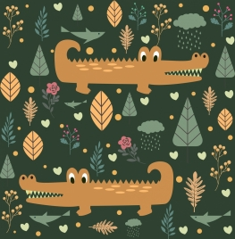 wild nature background repeating cartoon design crocodile icons