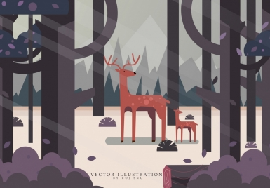 wild nature drawing forest reindeer icons colored cartoon