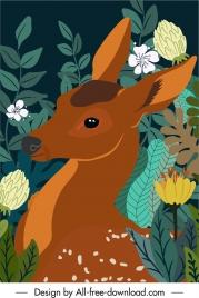 wild nature painting deer flowers leaves sketch