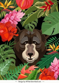 wild nature painting jungle plants bear sketch