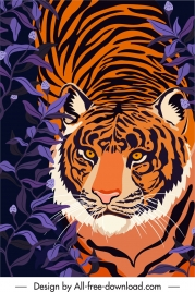 wild nature painting tiger sketch classic handdrawn