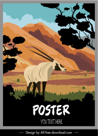 wild nature poster colorful classic goat sketch
