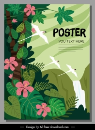 wild nature poster flying birds flowers sketch