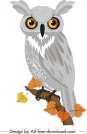 wild owl icon colored hanndrawn cartoon sketch